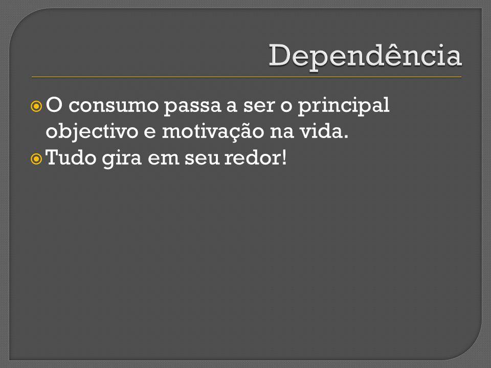 Dependência O consumo passa a ser o principal objectivo e motivação na vida.