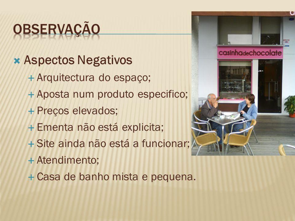 Observação Aspectos Negativos Arquitectura do espaço;
