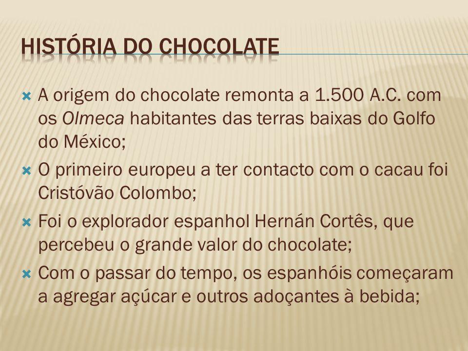 História do Chocolate A origem do chocolate remonta a 1.500 A.C. com os Olmeca habitantes das terras baixas do Golfo do México;