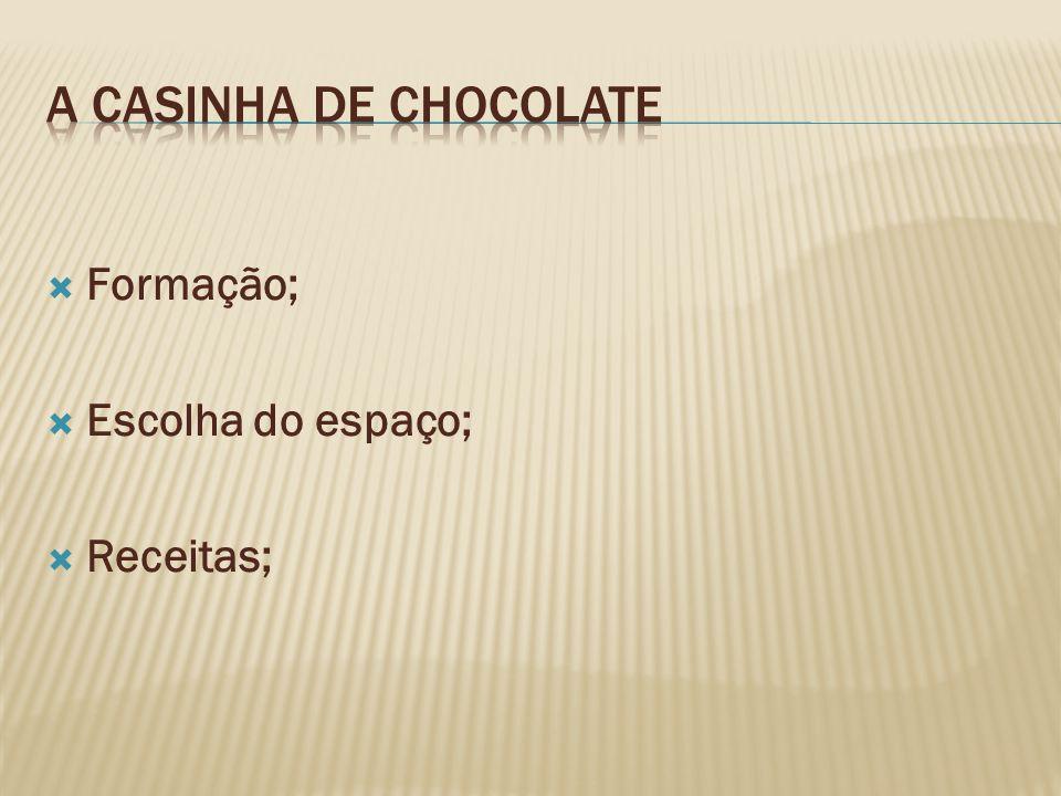 A casinha de Chocolate Formação; Escolha do espaço; Receitas;