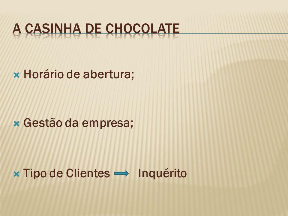 A casinha de Chocolate Horário de abertura; Gestão da empresa;