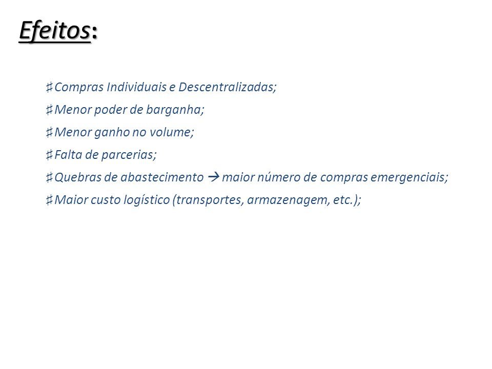 Efeitos: Compras Individuais e Descentralizadas;