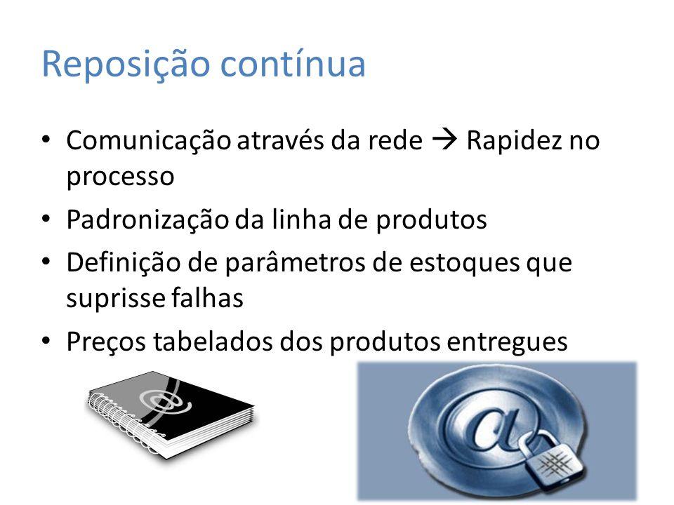 Reposição contínua Comunicação através da rede  Rapidez no processo