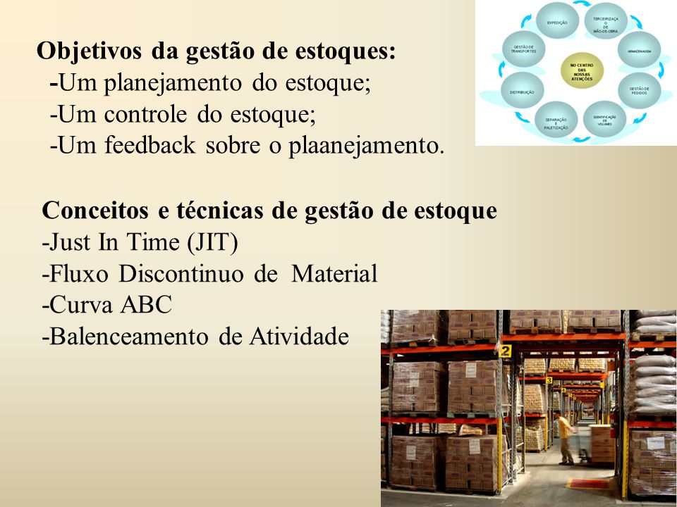 Objetivos da gestão de estoques: