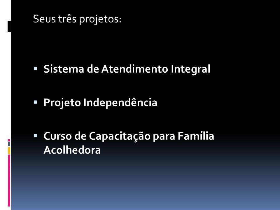 Seus três projetos: Sistema de Atendimento Integral.