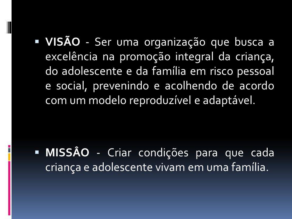 VISÃO - Ser uma organização que busca a excelência na promoção integral da criança, do adolescente e da família em risco pessoal e social, prevenindo e acolhendo de acordo com um modelo reproduzível e adaptável.