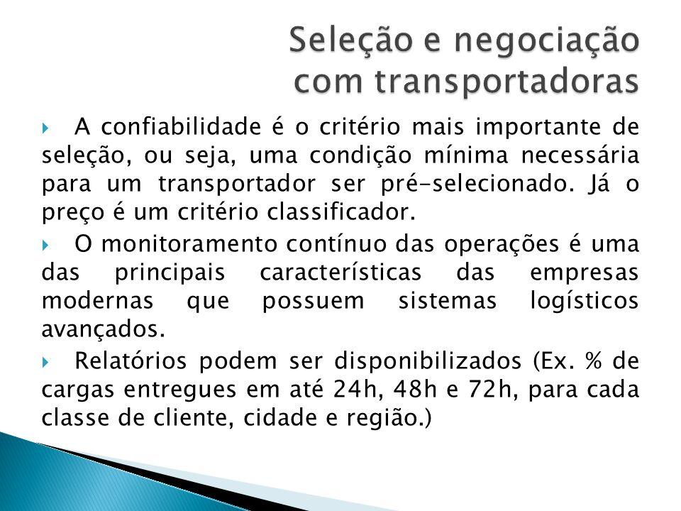 Seleção e negociação com transportadoras