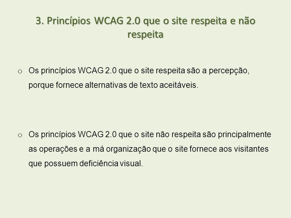 3. Princípios WCAG 2.0 que o site respeita e não respeita