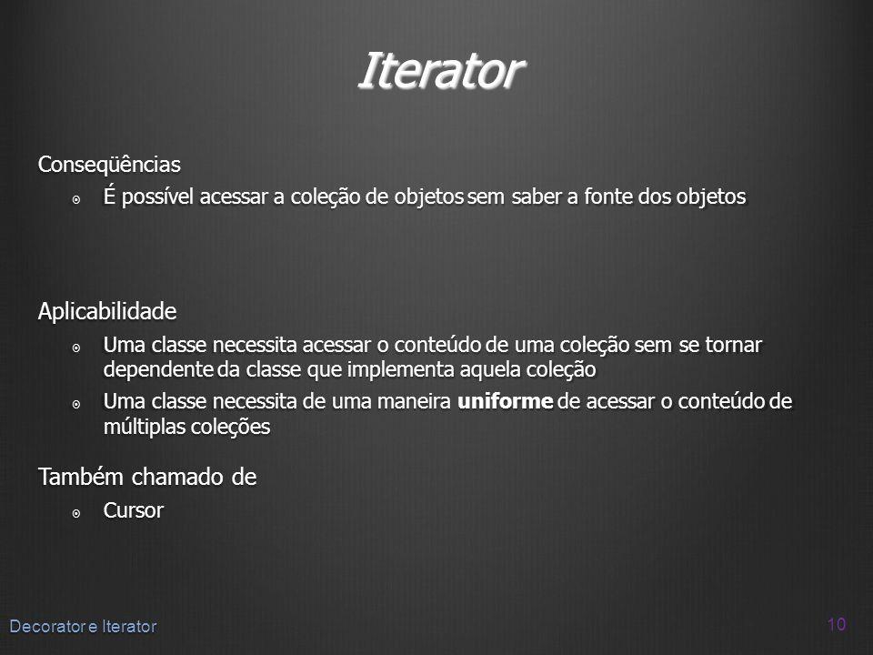 Iterator Aplicabilidade Também chamado de Conseqüências