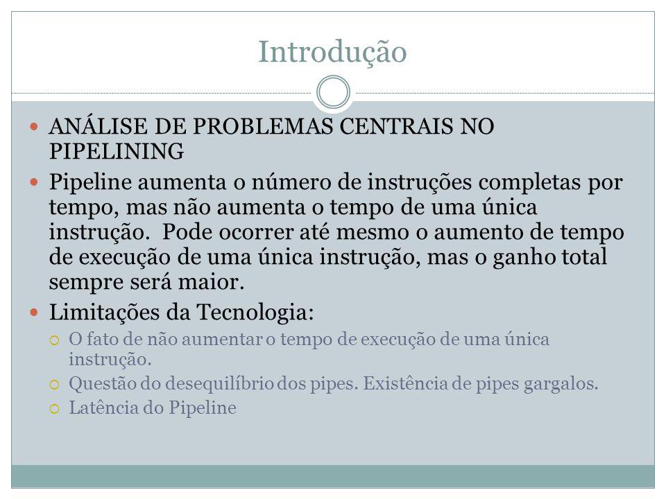 Introdução ANÁLISE DE PROBLEMAS CENTRAIS NO PIPELINING