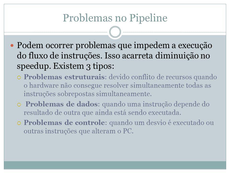 Problemas no Pipeline Podem ocorrer problemas que impedem a execução do fluxo de instruções. Isso acarreta diminuição no speedup. Existem 3 tipos:
