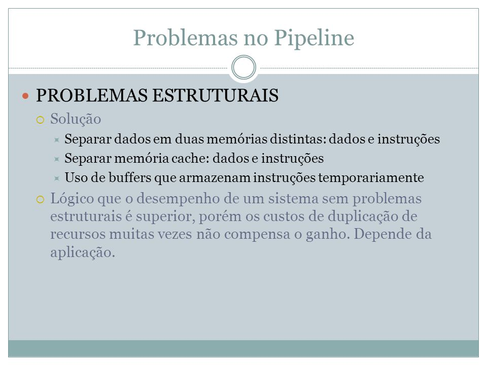 Problemas no Pipeline PROBLEMAS ESTRUTURAIS Solução