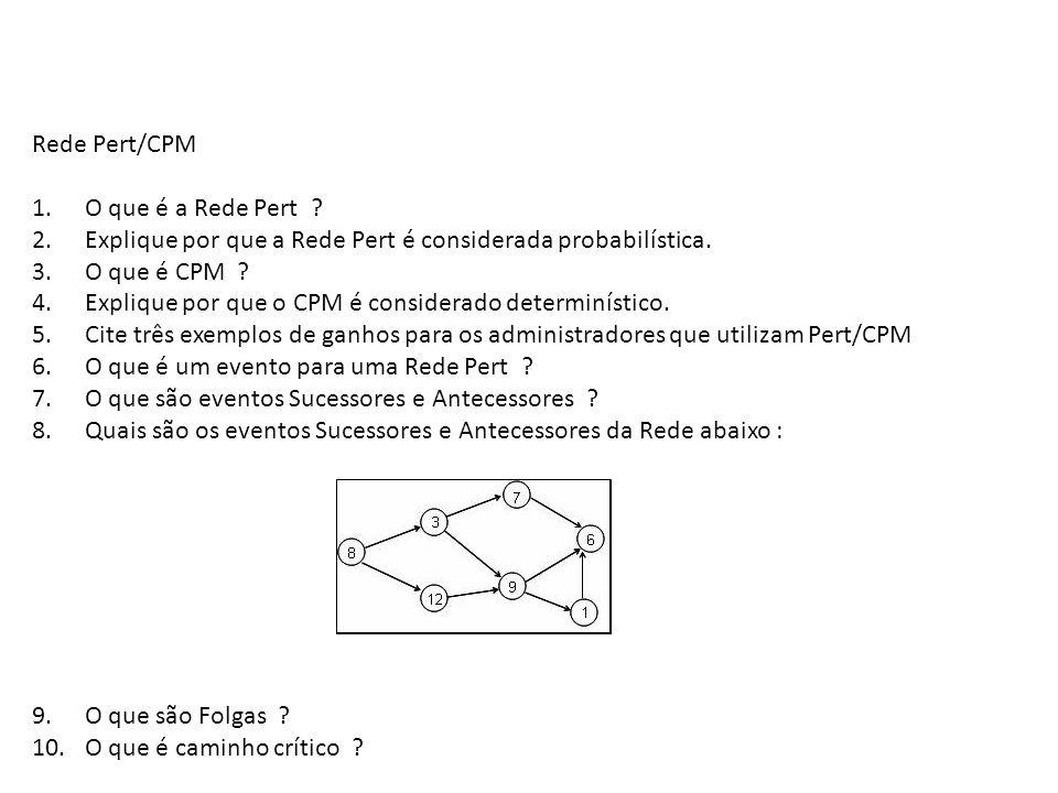 Rede Pert/CPM 1. O que é a Rede Pert 2. Explique por que a Rede Pert é considerada probabilística.