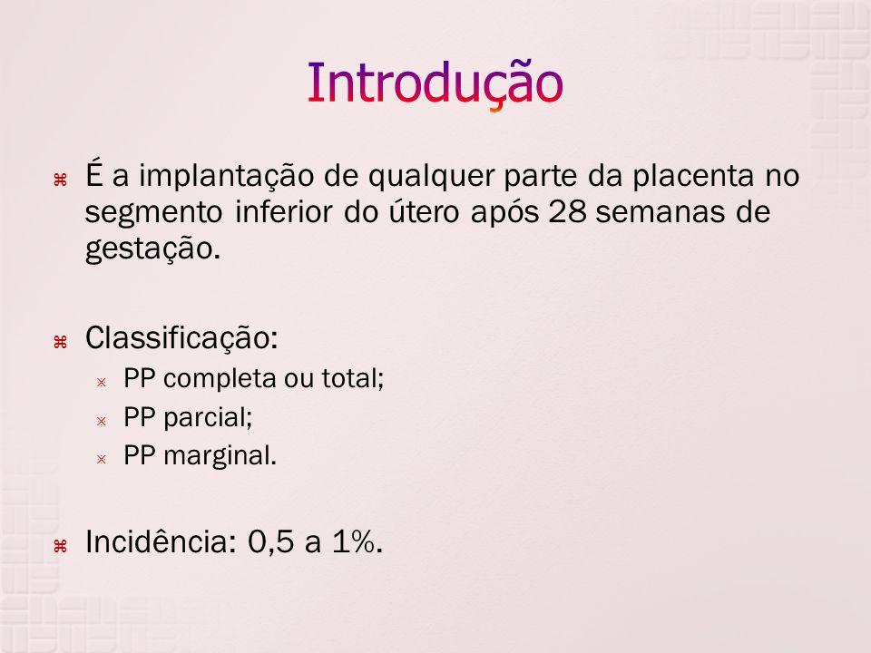 Introdução É a implantação de qualquer parte da placenta no segmento inferior do útero após 28 semanas de gestação.