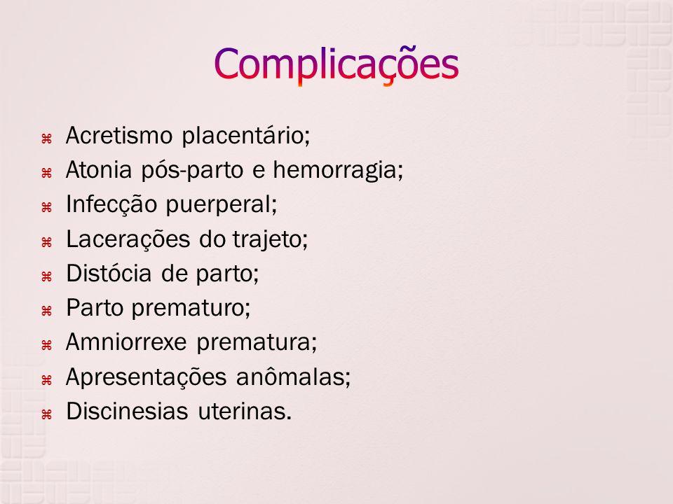Complicações Acretismo placentário; Atonia pós-parto e hemorragia;