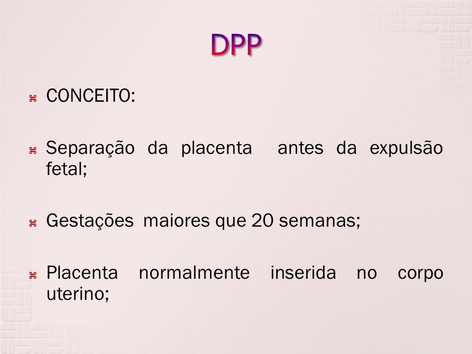 DPP CONCEITO: Separação da placenta antes da expulsão fetal;