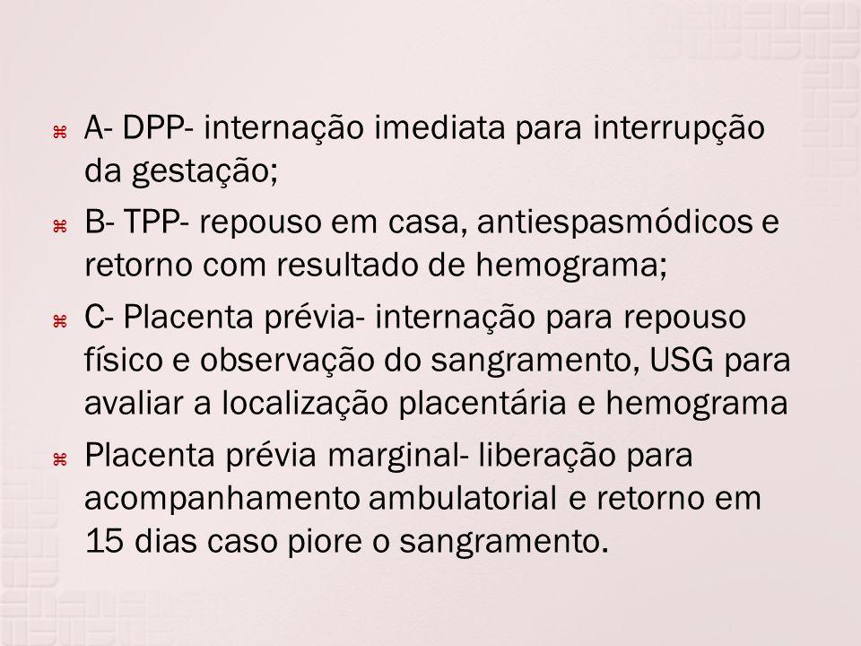 A- DPP- internação imediata para interrupção da gestação;