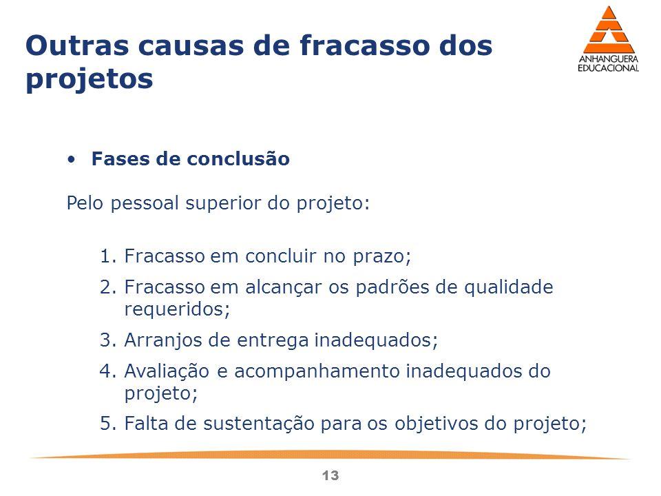 Outras causas de fracasso dos projetos