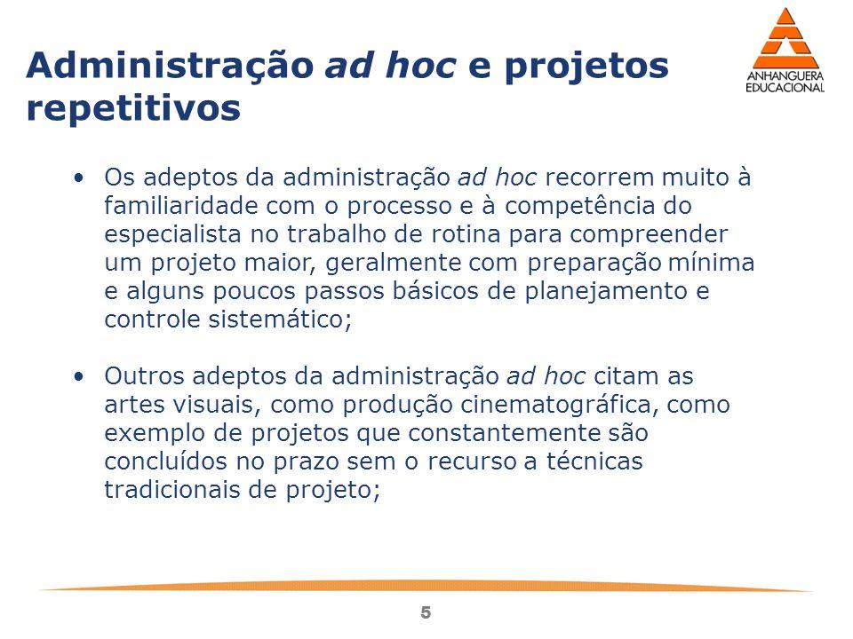 Administração ad hoc e projetos repetitivos