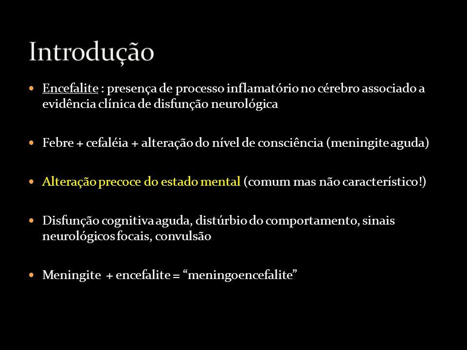 Introdução Encefalite : presença de processo inflamatório no cérebro associado a evidência clínica de disfunção neurológica.