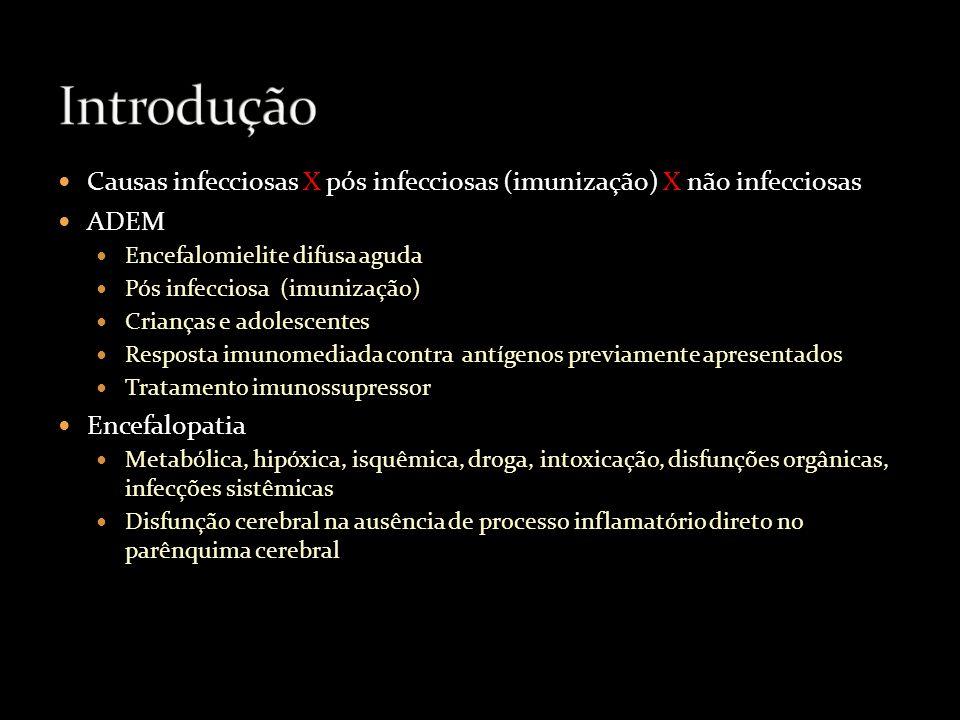 Introdução Causas infecciosas X pós infecciosas (imunização) X não infecciosas. ADEM. Encefalomielite difusa aguda.