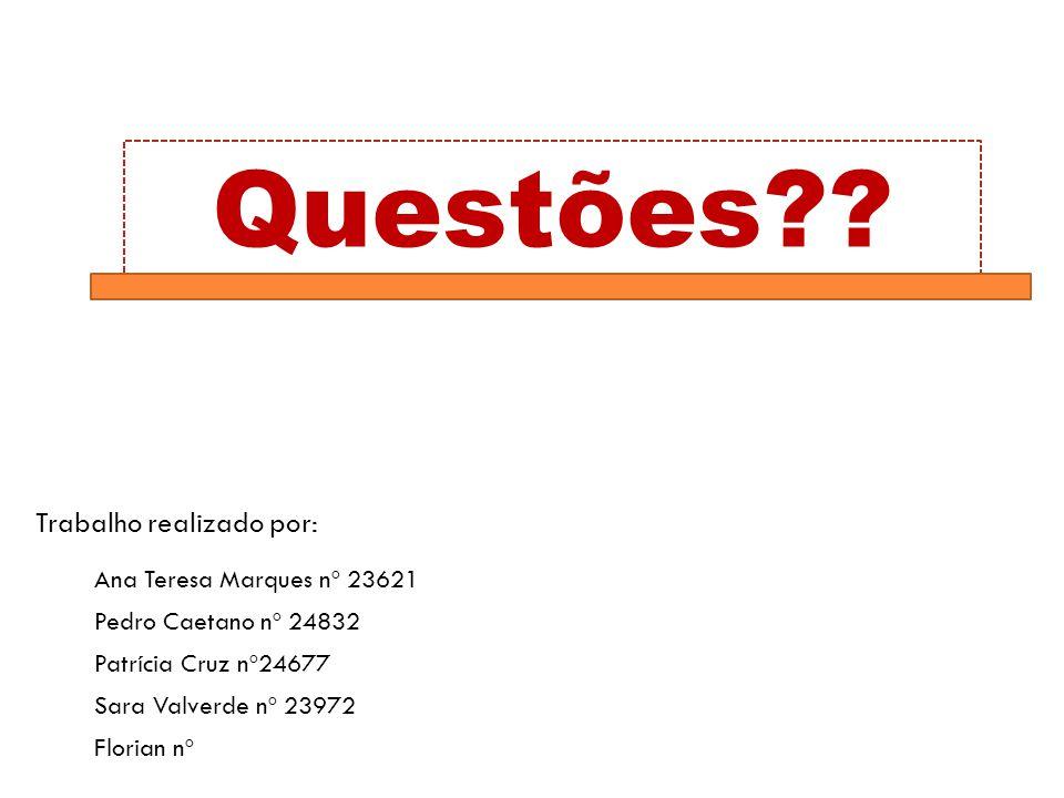 Questões Trabalho realizado por: Ana Teresa Marques nº 23621