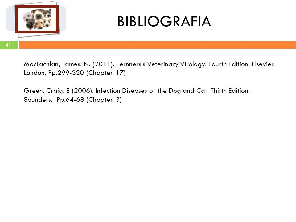 BIBLIOGRAFIA MacLachlan, James. N. (2011). Fernners's Veterinary Virology. Fourth Edition. Elsevier. London. Pp.299-320 (Chapter. 17)
