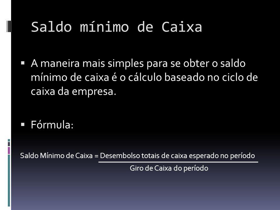 Saldo mínimo de Caixa A maneira mais simples para se obter o saldo mínimo de caixa é o cálculo baseado no ciclo de caixa da empresa.