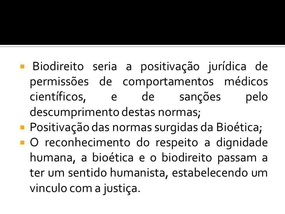 Biodireito seria a positivação jurídica de permissões de comportamentos médicos científicos, e de sanções pelo descumprimento destas normas;