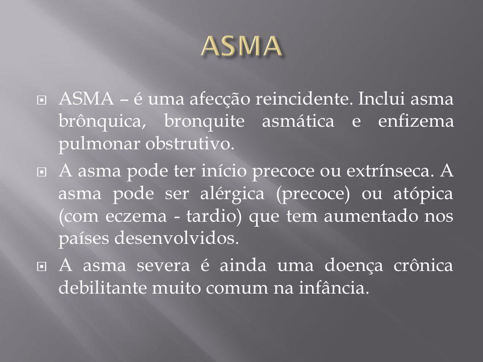 ASMA ASMA – é uma afecção reincidente. Inclui asma brônquica, bronquite asmática e enfizema pulmonar obstrutivo.