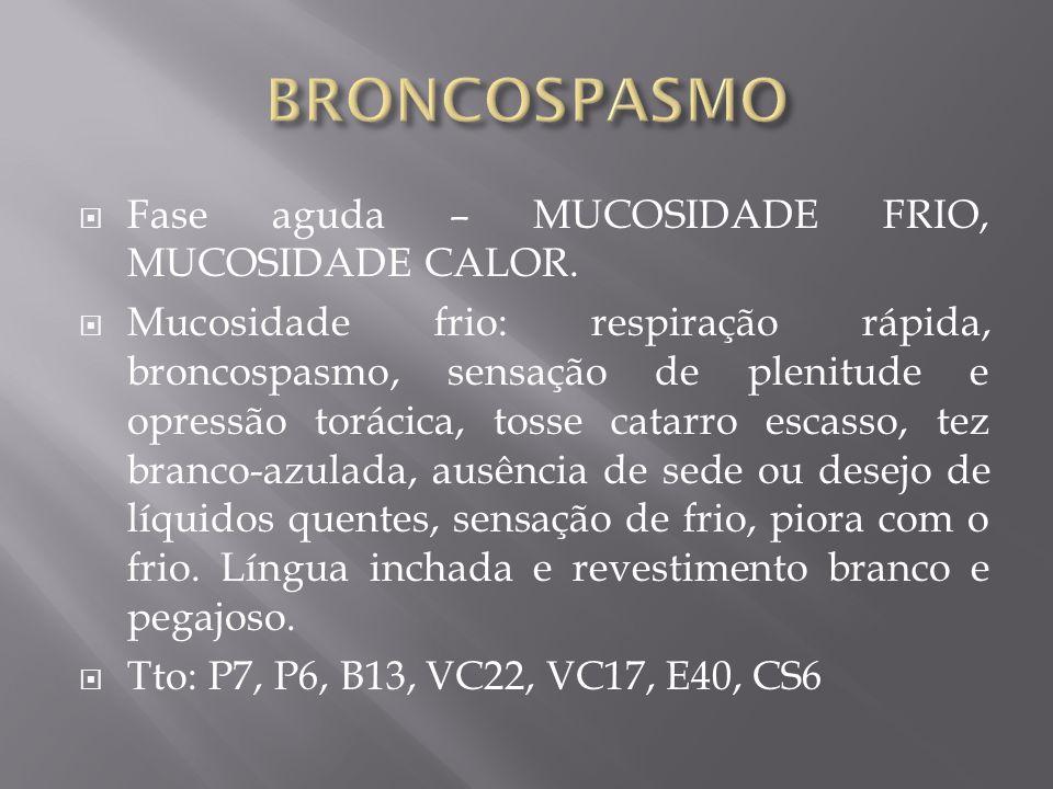 BRONCOSPASMO Fase aguda – MUCOSIDADE FRIO, MUCOSIDADE CALOR.