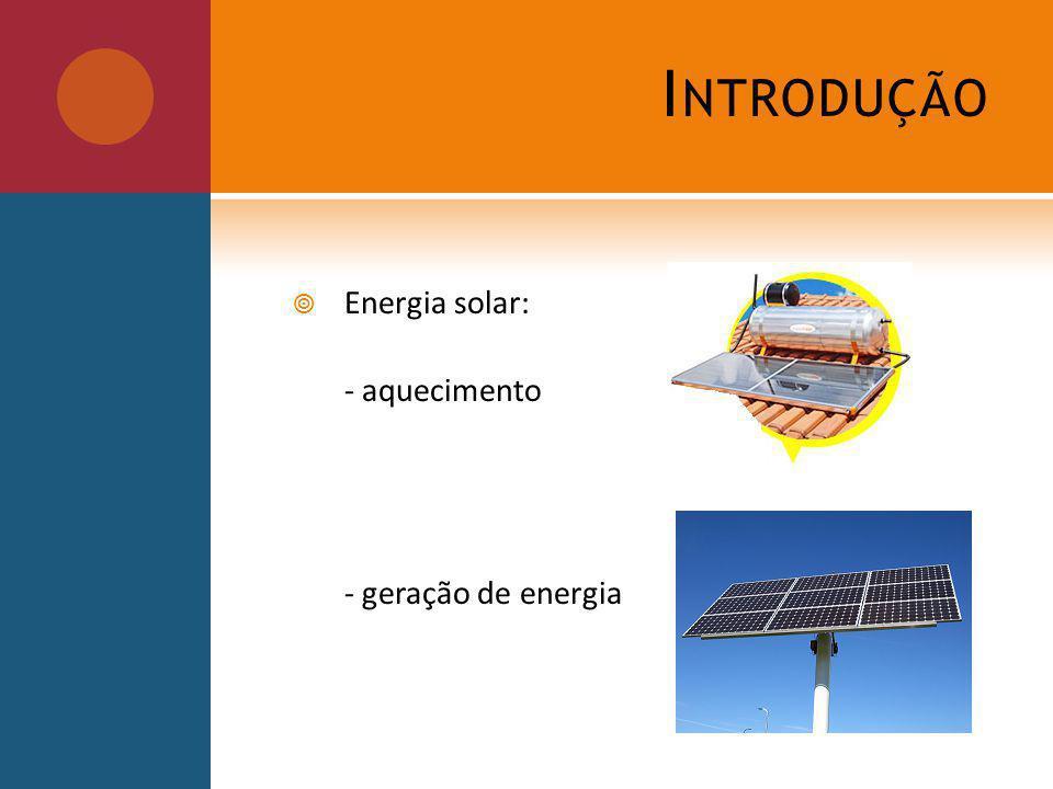Introdução Energia solar: - aquecimento - geração de energia
