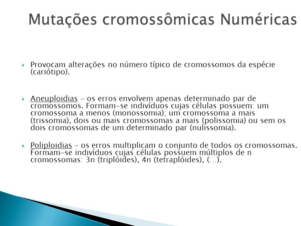 Mutações cromossômicas Numéricas