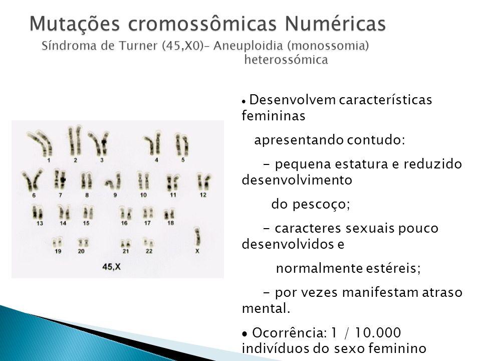 Mutações cromossômicas Numéricas Síndroma de Turner (45,X0)– Aneuploidia (monossomia) heterossómica