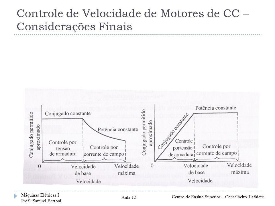 Controle de Velocidade de Motores de CC – Considerações Finais