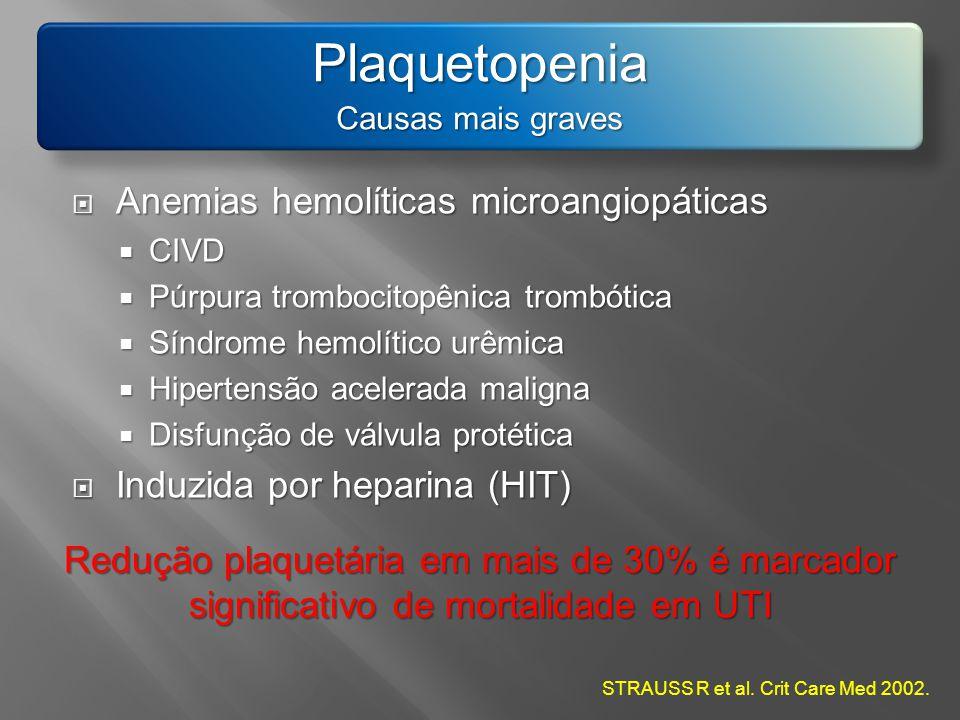 Plaquetopenia Anemias hemolíticas microangiopáticas