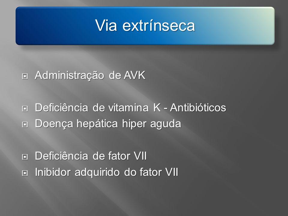 Via extrínseca Administração de AVK