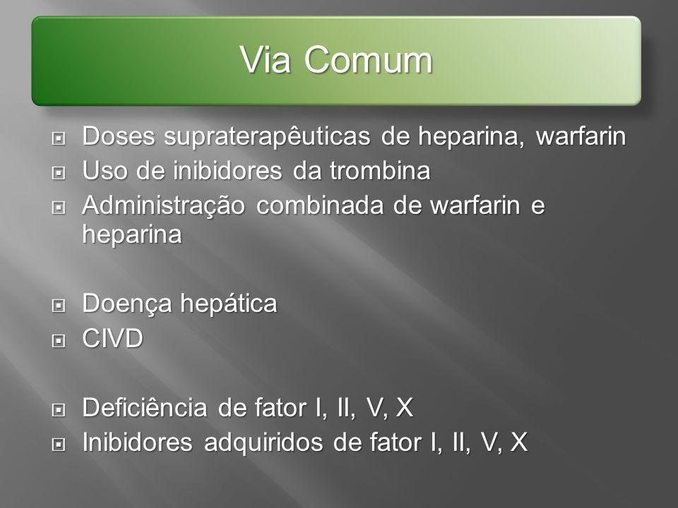 Via Comum Doses supraterapêuticas de heparina, warfarin