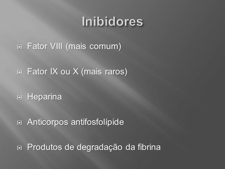 Inibidores Fator VIII (mais comum) Fator IX ou X (mais raros) Heparina