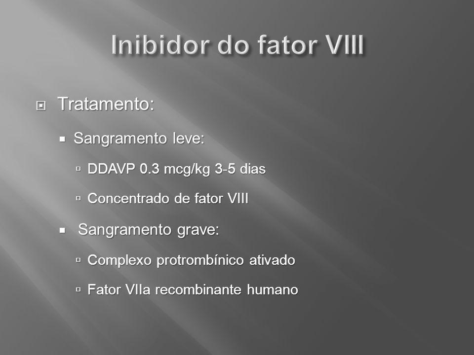 Inibidor do fator VIII Tratamento: Sangramento leve: