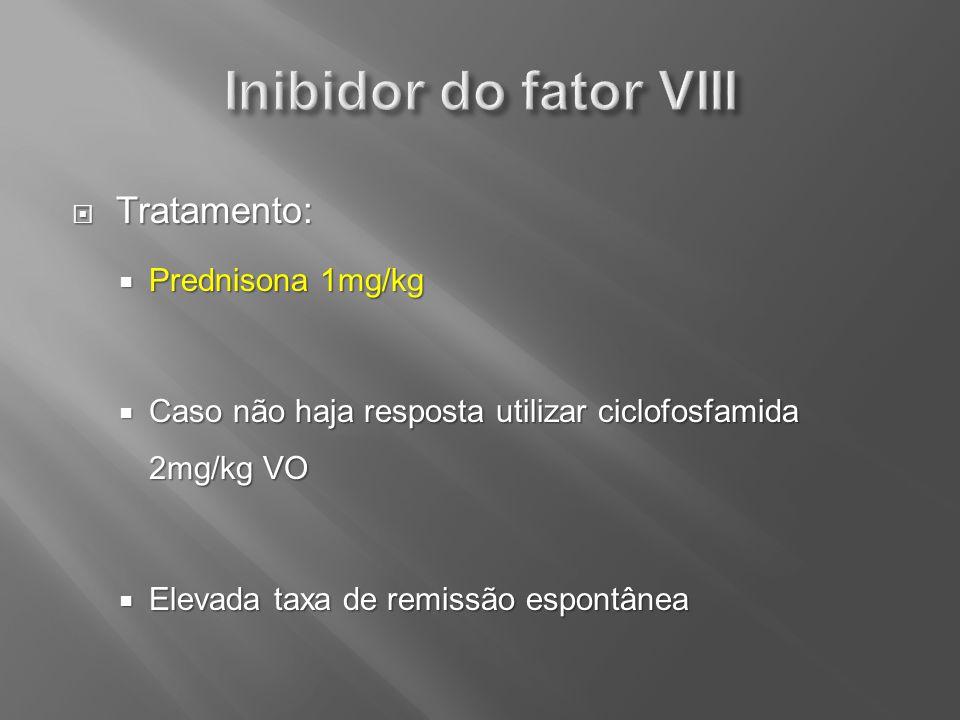 Inibidor do fator VIII Tratamento: Prednisona 1mg/kg