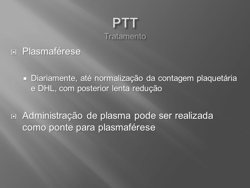 PTT Tratamento Plasmaférese