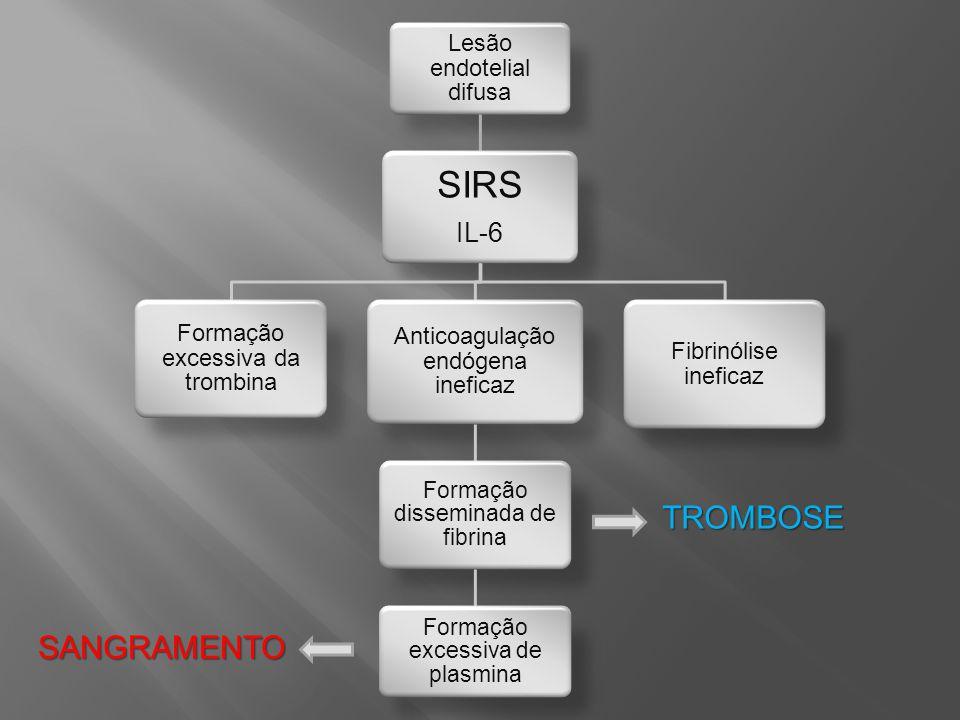 SIRS TROMBOSE SANGRAMENTO IL-6 Lesão endoteli al difusa