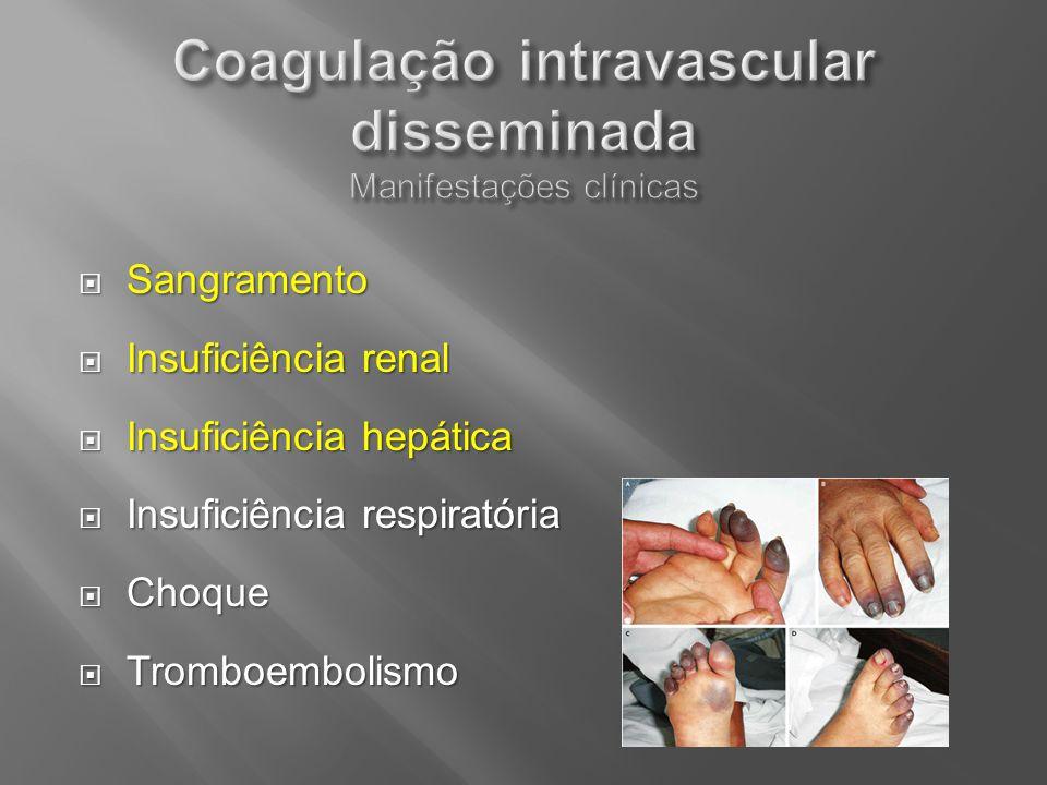 Coagulação intravascular disseminada Manifestações clínicas