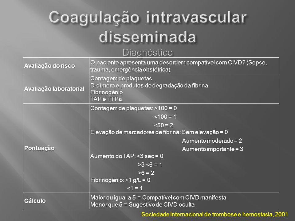 Coagulação intravascular disseminada Diagnóstico
