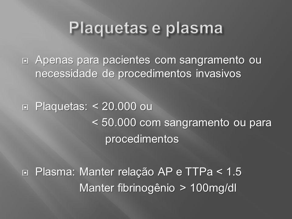 Plaquetas e plasma Apenas para pacientes com sangramento ou necessidade de procedimentos invasivos.