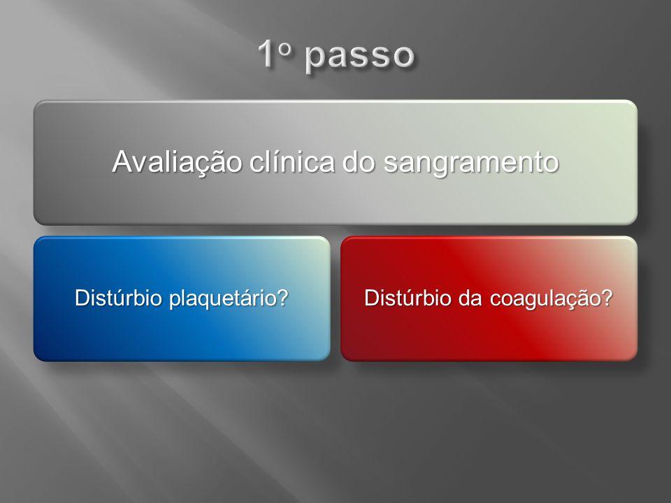 1o passo Avaliação clínica do sangramento Distúrbio plaquetário