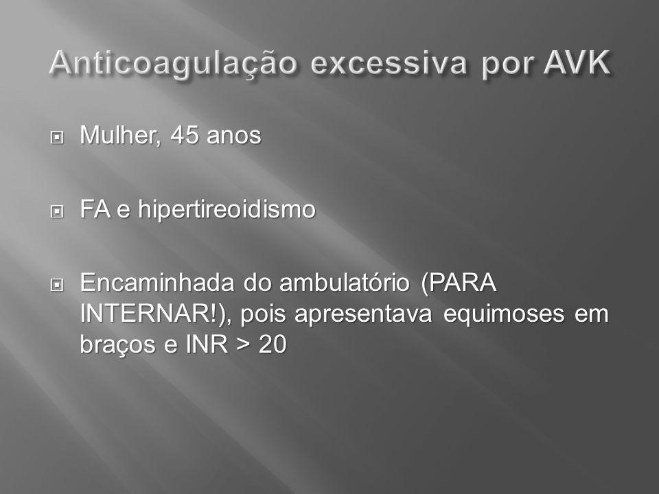 Anticoagulação excessiva por AVK