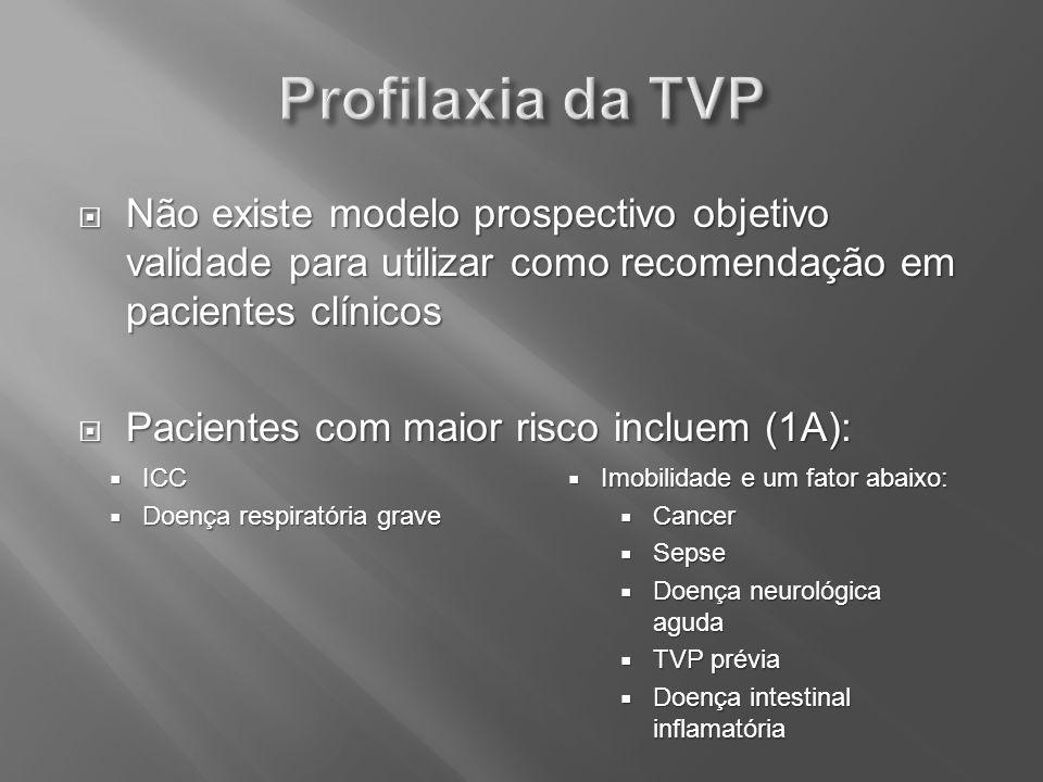 Profilaxia da TVP Não existe modelo prospectivo objetivo validade para utilizar como recomendação em pacientes clínicos.