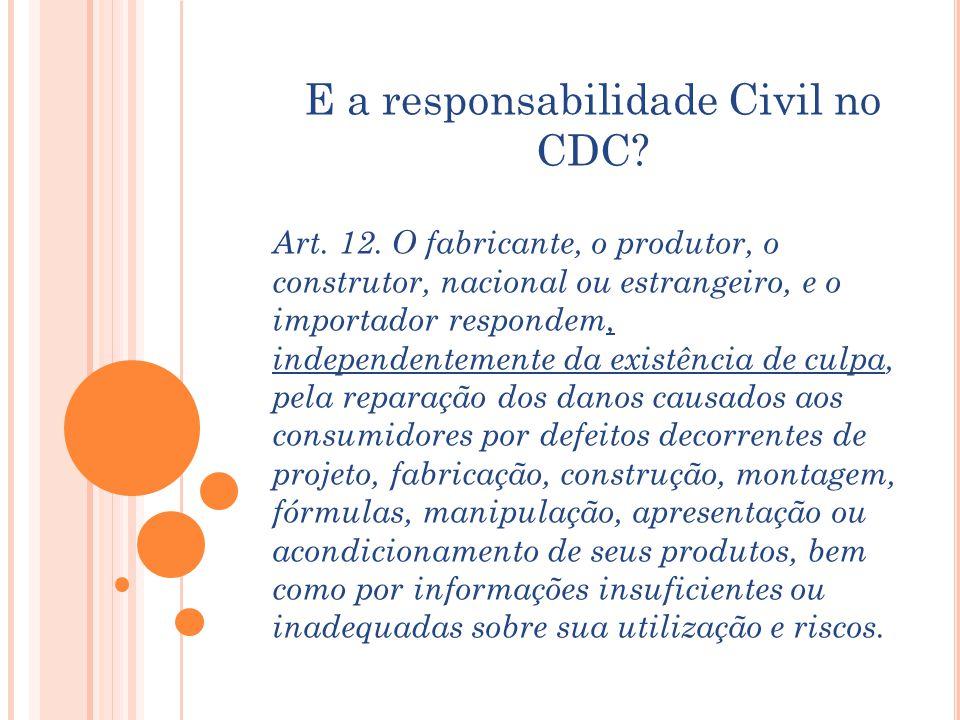 E a responsabilidade Civil no CDC